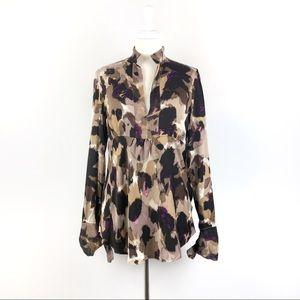 Diane Von Furstenberg Graphic Silk Peasant Blouse